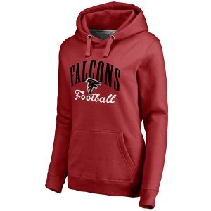 Women's Atlanta Falcons NFL Pro Line Red Victory Script Pullover Hoodie